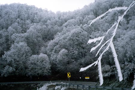 Rime Ice at Sam's Gap, Sam's Gap (NC-TN).  Copyright Chris Bell.
