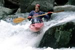 Steve Hale in his kayak paddling Hydro, Watauga Gorge (NC).  Copyright Chris Bell.
