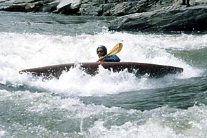 Side Surfing Jaws, Jaws, Chris Bell, Nolichucky (NC-TN).  Copyright Lani Anderson.