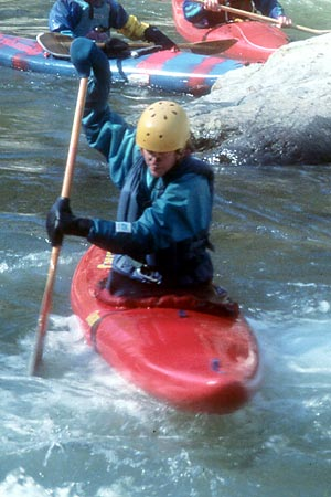 Peeling Out, Staging eddy just upstream of Watauga Falls, Heidi Domeisen, Watauga Gorge (NC-TN).  Copyright Chris Bell.