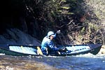 David Knupp in his open canoe paddling Wilson Creek Gorge (NC).  Copyright Chris Bell.