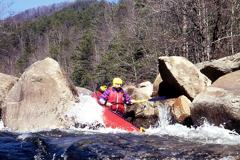 A Tight Squeeze!, Unknown, Wilson Creek Gorge (NC).  Copyright Chris Bell.