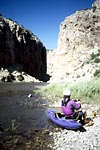 Cross Mountain Gorge Takeout, Take-out, Philip Curry and Edward Chapman , Cross Mountain Gorge of the Yampa (CO).  Copyright Chris Bell.