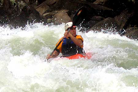 Hazelnut, Pillow Rock, Steve Heisleman, Upper Gauley (WV).  Copyright Chris Bell.