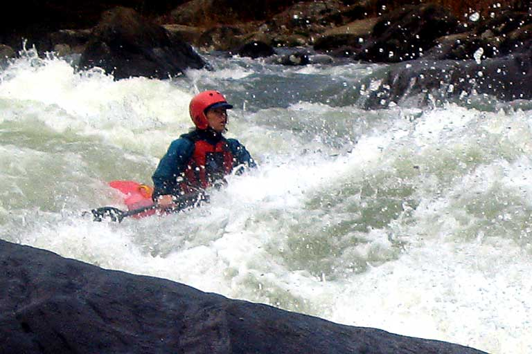 , Pillow Rock, Robin Knupp, Upper Gauley (WV).  Copyright Chris Bell.