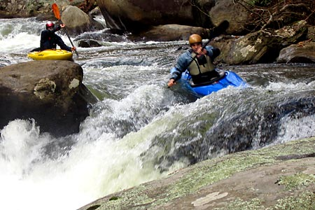 Lining up for the Boof, Reverse Seven Foot Falls, Unknown, Green Narrows (NC).  Copyright Chris Bell.